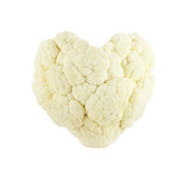 Cauliflower heart on white. Heart shaped Cauliflower concept isolated on white background Royalty Free Stock Image