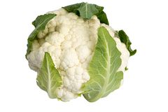 Cauliflower isolated on white background. Cauliflower with leaves isolated on white background Royalty Free Stock Image