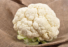 Cauliflower on jute Royalty Free Stock Photo