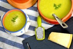 Cauliflower and leek soup. With grana padano cheese Stock Image