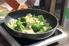Cauliflower in a pan Stock Photos