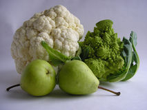 Cauliflower and pears royalty free stock photo
