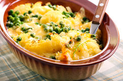 Cauliflower and peas gratin Royalty Free Stock Photo