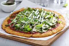 Cauliflower pizza with zucchini and asparagus Stock Photos