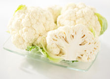 Cauliflower on a plate. Cauliflower on a glass plate royalty free stock image