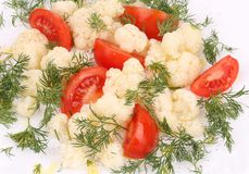 Cauliflower salad close up. Royalty Free Stock Images