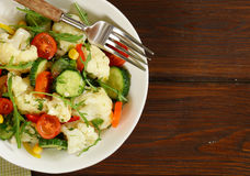 Cauliflower salad with cucumbers and pepper Royalty Free Stock Image