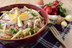 Cauliflower salad with potatoes, hard cheese, eggs, red onion and radish Stock Photo