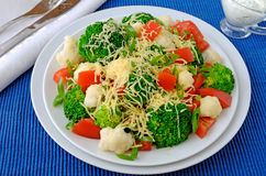 Cauliflower salad with tomatoes and broccoli Stock Images
