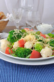 Cauliflower salad with tomatoes and broccoli Royalty Free Stock Photo