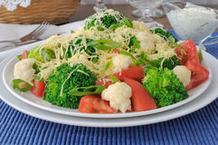 Cauliflower salad with tomatoes and broccoli Royalty Free Stock Photos