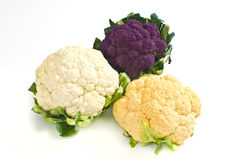 Cauliflower. Shot in white back with fresh vegetables Stock Photography