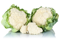 Cauliflower sliced slices fresh vegetable isolated. On a white background Stock Photo