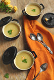 Cauliflower soup. Served in a small pot Royalty Free Stock Photography