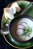 Cauliflower soup. Creamy cauliflower coup with radish slices and green onion garnish Stock Image