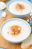 Cauliflower soup with cottage cheese, vertical Stock Photography