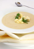 Cauliflower soup. Packed with nutrition, this bowl of goodness is hearty enough for a full meal or entrée, and can be served either warm or cold Stock Photography