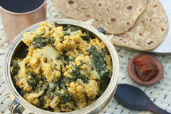 Cauliflower and Spinach subzi from India Royalty Free Stock Photography