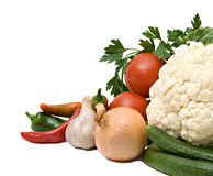 Cauliflower,  tomatoes, bell peppers, and onion Stock Image