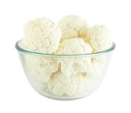 Cauliflower in transparent bowl. Isolated on white background Royalty Free Stock Photo