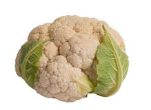 Cauliflower. On a white background, a lovely vegetarian ingredient and useful vegetable Royalty Free Stock Images