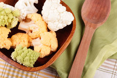 Cauliflower in the wooden bowl Stock Photos