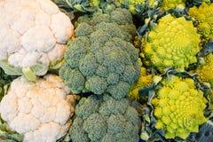 Cauliflower and yellow Romanesco Stock Images
