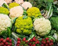 Cauliflowers on market Stock Images