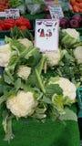 Cauliflowers and other fresh market produce Stock Photo