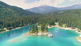 Caumasee Lake Flims Spring Mountains Aerial 4k stock footage