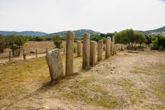 Cauria. The menhirs alignment of Stantari, in the megalithic site of Cauria, Sartene area, Corsica, France Royalty Free Stock Image