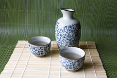 Causa ajustada no estilo japonês da almofada de bambu Fotos de Stock Royalty Free