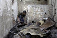 Causa de la casa de la quemadura por la explosión de la estufa Imágenes de archivo libres de regalías