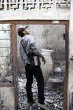 Causa de la casa de la quemadura por la explosión de la estufa Fotos de archivo