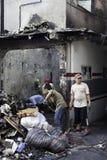 Causa de la casa de la quemadura por la explosión de la estufa Foto de archivo