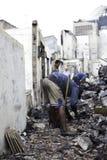 Causa de la casa de la quemadura por la explosión de la estufa Imagen de archivo libre de regalías