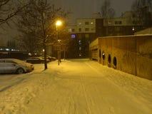 A causa dell'inverno, anche le strade hanno una certa neve sopra e sua bella natura  Fotografie Stock