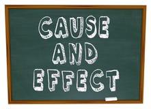 Causa - e - aprendizagem da ciência da experiência da placa de giz do efeito Fotos de Stock