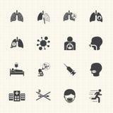 Causa e prevenzione del cancro polmonare Le icone di vettore hanno impostato Fotografie Stock