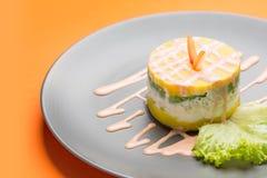 Causa, un plato típico de la opinión de Perú desde arriba fotografía de archivo libre de regalías