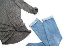 Causal wear blue jeans gray sweater Stock Photo