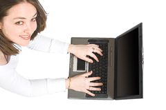 Causal woman using a laptop Stock Image