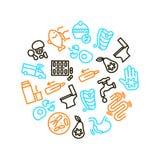 Causas de la plantilla redonda del diseño del icono de la diarrea Vector ilustración del vector