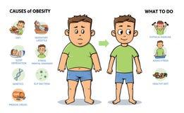 Causas y prevención de la obesidad Individuo joven antes y después de la dieta y de la aptitud Cartel infographic colorido con el libre illustration