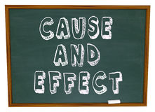 Cause and Effect Chalk Board Experiment Science Learning Stock Photos