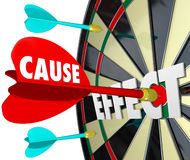 Cause and Effect Dart Board Practice Equals Winning Game. Cause and Effect dart board to illustrate a reaction, response or result of your action or efforts stock illustration