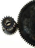 Cause and effect. Gear, cogs. Cause and effect. Cog gear or sprocket connected dirty isolated. illustrates business, manufactoring, production and the transfer royalty free stock photo