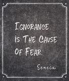 Cause of fear Seneca quote. Ignorance is the cause of fear - ancient Roman philosopher Seneca quote written on framed chalkboard royalty free stock images