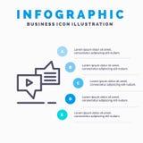 Causerie, connexion, vente, transmission de messages, ligne icône de la parole avec le fond d'infographics de présentation de 5 é illustration libre de droits