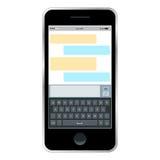 Causerie mobile de messager, mains avec le smartphone envoyant un message Conception plate isométrique, illustration de vecteur S Photo libre de droits